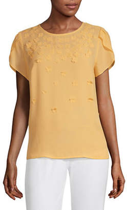 Liz Claiborne Womens Round Neck Short Sleeve Embellished Blouse