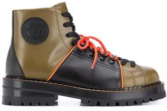 Versace Medusa logo patch lace-up boots