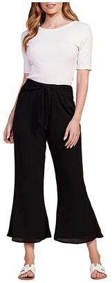 BB Dakota Crinkle Rayon Flare Pants w/ Tie (Black) Women's Clothing