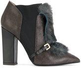 Pollini faux fur trim ankle boots