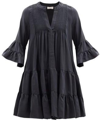 Casa Raki - Delfina Tiered V-neck Twill Mini Dress - Black
