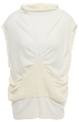 Ann Demeulemeester Shirred Cotton And Cashmere-blend Jersey Top