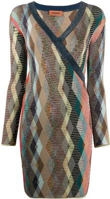 Missoni Wrap Style Front Argyle Knit Dress