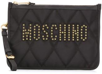 Moschino Studded Logo Clutch