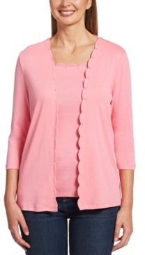 Rafaella Solid Scallop Edge 3/4 Sleeve Cardigan