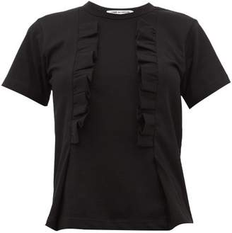 Comme des Garcons Ruffled Trim Cotton T Shirt - Womens - Black