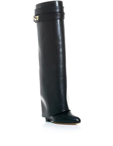 Givenchy Shark lock leather wedge boots