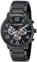 Akribos XXIV Men's AK803BK Multifunction Swiss Quartz Movement Watch with Black Dial and Stainless Steel Bracelet