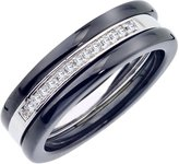 AX Jewelry Black Ceramic and Sterling Silver 1/10ct TDW Diamond Triple Stacked Band (H-I, I2-I3)