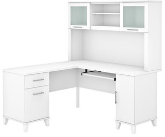 Latitude Run Kittle Reversible L-Shape Executive Desk with Hutch Color: Maple Cross