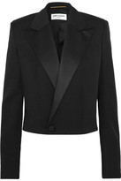 Saint Laurent Cropped Satin-trimmed Wool-twill Blazer - Black