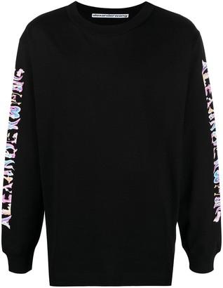 Alexander Wang Logo-Sleeve Cotton T-Shirt