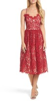 Eliza J Petite Women's Gathered Lace Midi Dress