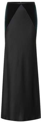 Haider Ackermann Satin and velvet maxi skirt