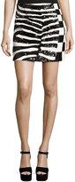 Marc Jacobs Sequined Zebra & Checker Miniskirt, Black