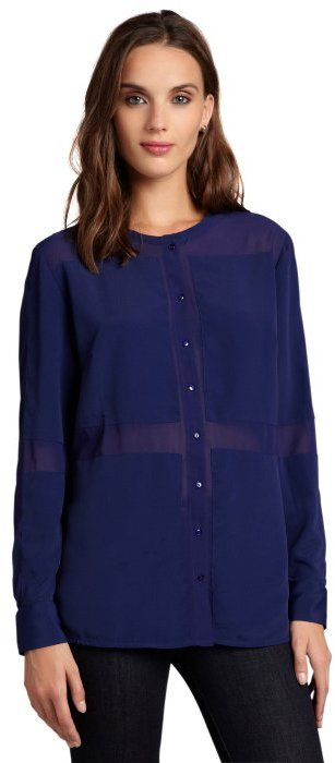 Walter royal blue sheer detail collarless 'Benjamin' button up blouse