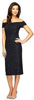 Alex Evenings Off-The-Shoulder Lace Sheath Dress