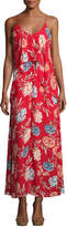 Romeo & Juliet Couture Floral-Print Chiffon Maxi Dress w/ Popover, Red Pattern