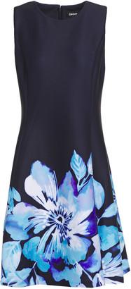 DKNY Flared Floral-print Scuba Dress