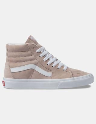 Vans Pig Suede Sk8-Hi Shadow Gray & True White Womens Shoes