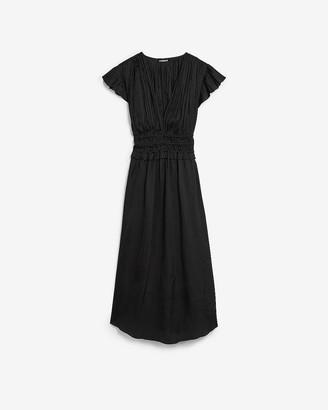 Express Satin Short Sleeve Pleated Midi Dress