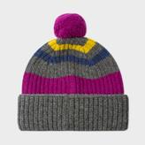 Paul Smith Men's Grey Striped Lambswool Bobble Hat
