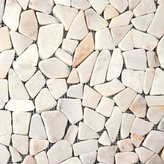 "MSI Flat Meshed 16"" x 16"" Marble Pebble Mosaic Tile in White"