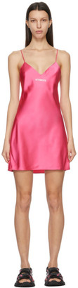 Vetements Pink Logo Slip Dress