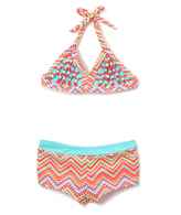 Vigoss Aqua Geometric Beaded Boyshort Bikini - Girls
