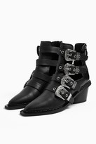 Topshop MAGIC Leather Buckle Western Boots