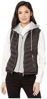 YMI Jeanswear Snobbish Snobbish Puffer Vest with Removable Sweatshirt Hoodie (Black) Women's Clothing