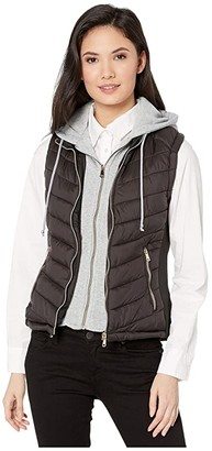 YMI Jeanswear Snobbish Puffer Vest with Removable Sweatshirt Hoodie (Black) Women's Clothing