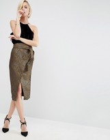 Asos Wrap Pencil Skirt in Chevron Jacquard