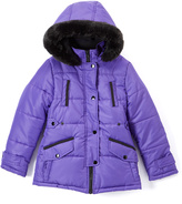 KC Collections Purple Faux Fur-Accent Puffer Coat - Girls