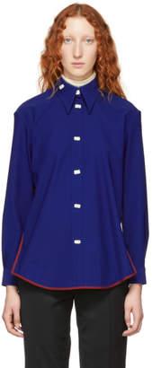 Namacheko Blue Taffeta Drop-Front Shirt