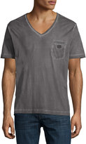 Diesel Faded V-Neck Cotton Tee, Ash Gray