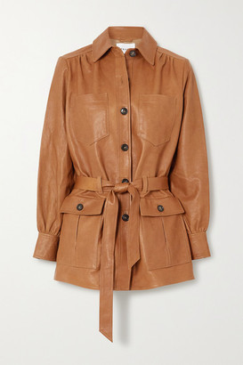 Frame Belted Leather Jacket - Brown