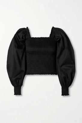 La Ligne Smocked Cotton-poplin Blouse - Black