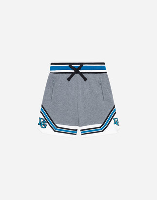 Dolce & Gabbana Inlaid Jersey Jogging Shorts With Patch Embellishment