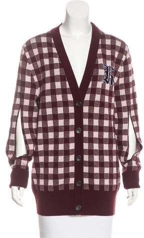 Christopher Kane Wool-Blend Plaid Cardigan