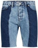 Topman Black and Indigo Half and Half Slim Denim Shorts