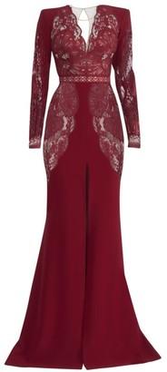 ZUHAIR MURAD Mirai Lace Long-Sleeve Crepe Slit Gown