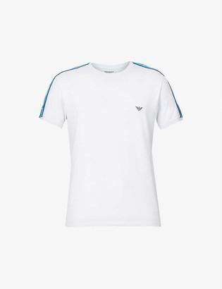 Emporio Armani Branded-trim slim-fit stretch-cotton T-shirt