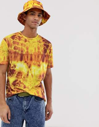Asos Design DESIGN two-piece relaxed t-shirt in tye die wash in orange