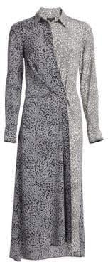 Rag & Bone Karen Silk Asymmetric Leopard Print Shirtdress