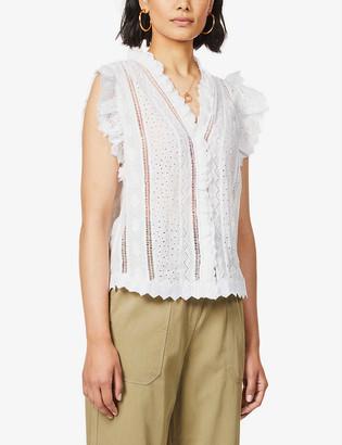 Frame Lauren broderie-anglaise woven blouse