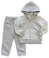 Planet Cotton® 2-Piece Stripe & Dot Hoodie Set with Pant in Grey