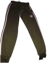 adidas Khaki Cotton Trousers for Women