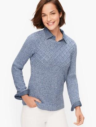 Talbots Marled Diamond Stitch Sweater