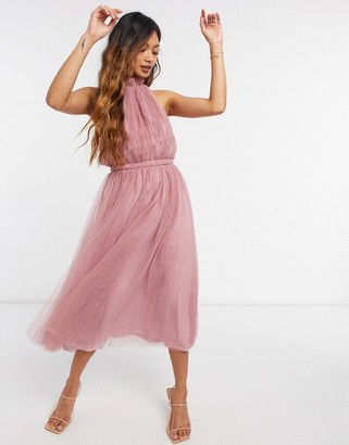 ASOS DESIGN high neck tulle maxi dress with side cut out detail in rose